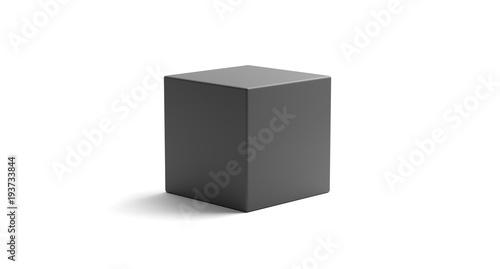 Renderowanie 3D realistycznie wyglądający obiekt geometryczny sześcian na białym tle