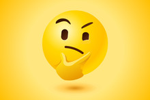Yellow Thinking Face Vector Icon