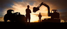 Silhouette Of Working Men On B...