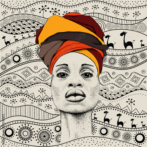 Fototapeta African woman with African in turban, tribal background. Beautiful black woman. Vector illustration obraz