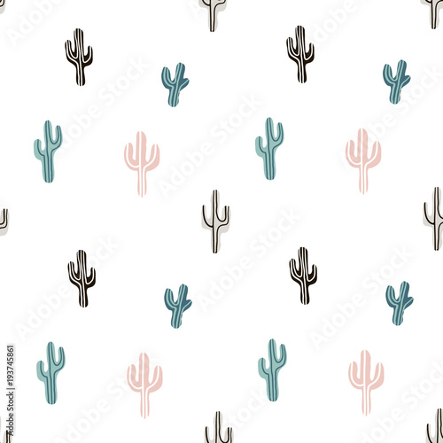 Seamless pattern with llama, cactus and hand drawn elements Wallpaper Mural