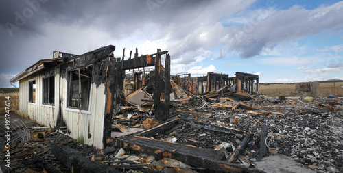 Home Destroyed by Fire Caused by Lightning Wallpaper Mural
