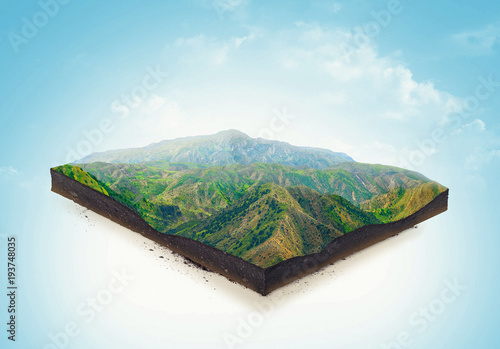 Fotografie, Obraz  Isolated a cross section of ground with mountains and meadows