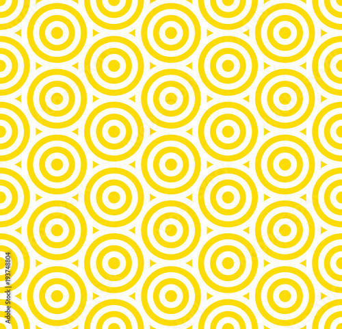 Summer background circle stripe pattern seamless yellow and white.