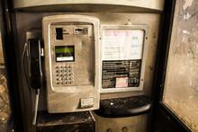 Inside Of One Public Phone Box In UK. Red Telephone Box.