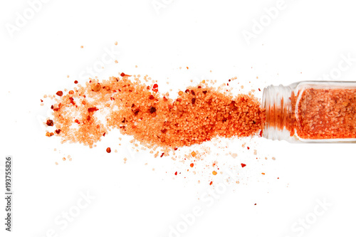 cuban seasoning. spilled cuban spice mix. Isolated on a white background. top view, flat lay