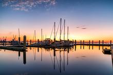 Sailboats At Sunset At Feranda Pier In Florida