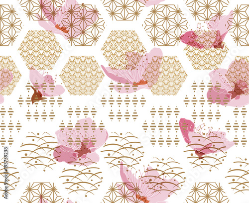 Cherry blossom vector with Japanese pattern seamless Wallpaper Mural