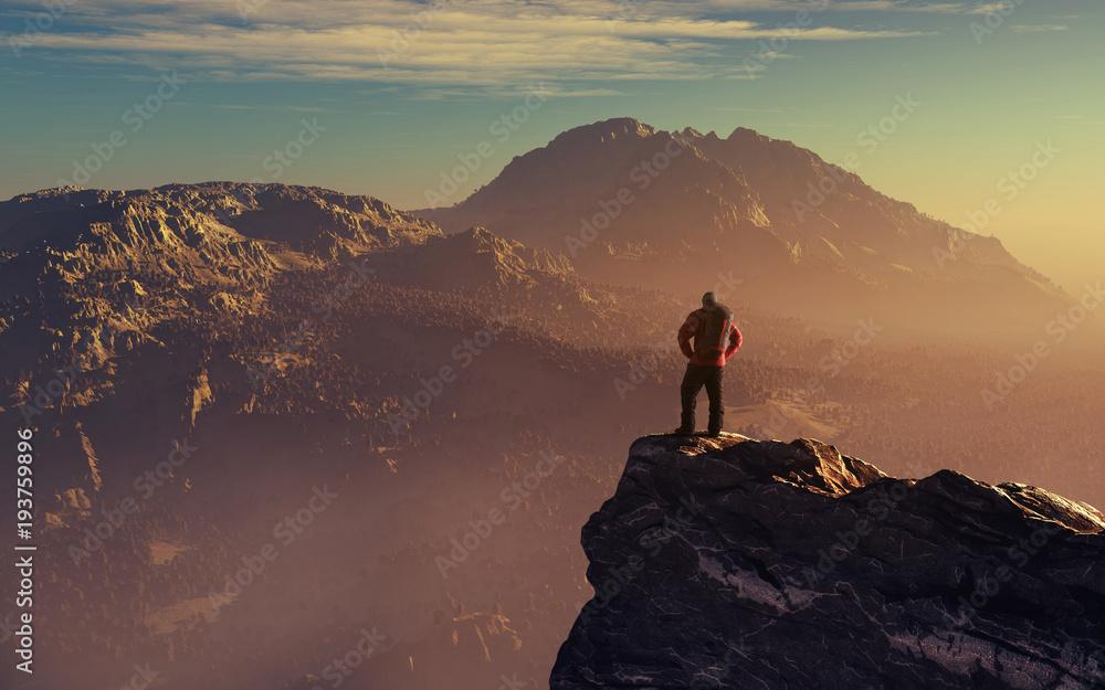 Fototapeta Hiker up the mountain