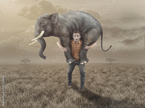 Fotografía  Man takes an elephant back