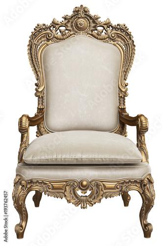 Obraz na płótnie Classic gold baroque armchair isolated on white background