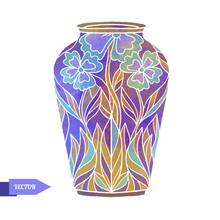 Watercolor Vintage Vase With Floral Pattern