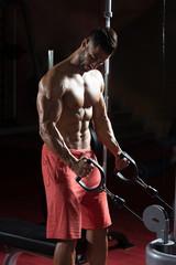 Fototapeta na wymiar Bodybuilder Doing Heavy Weight Exercise For Biceps