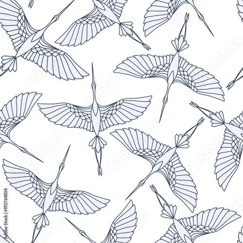 Materiał do szycia Japoński wzór piękna dźwigi. Chiński wektor tle z ptaków latających. Ornament z motywami orientalnymi.
