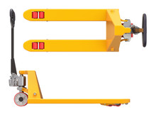 Pallet Jack, Side And Top View Isolated On White Background