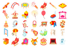 Kid Amusement Icon Set, Cartoon Style