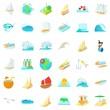 Saline water icons set, cartoon style