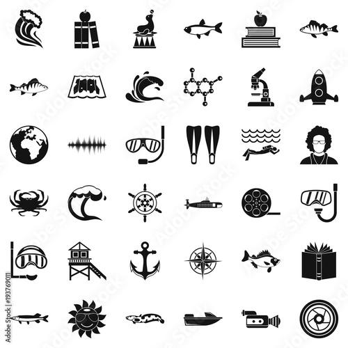 Fototapeta Oceanologist icons set, simple style obraz na płótnie