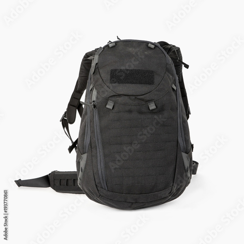 Fotografía  tourist black backpack for tourists with zipped pockets on a white background