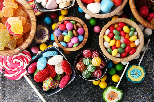 Foto op Plexiglas Snoepjes candies with jelly and sugar. colorful array of different childs sweets and treats