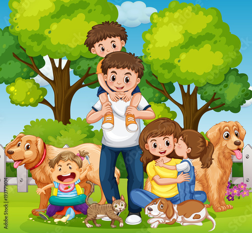 Canvas Prints Kids Family with kids and pets in the park