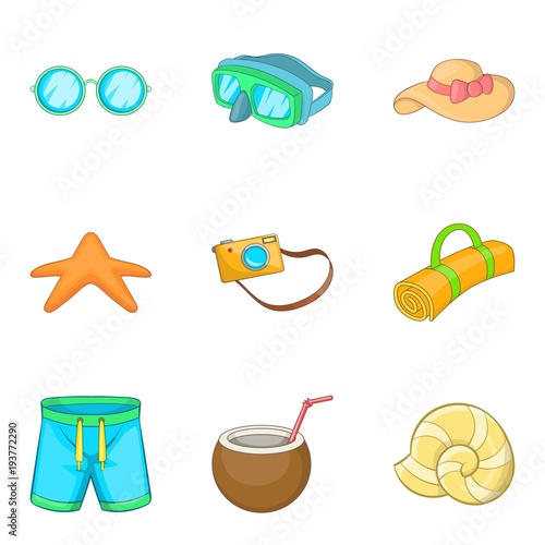 Tela Summer holiday icons set, cartoon style