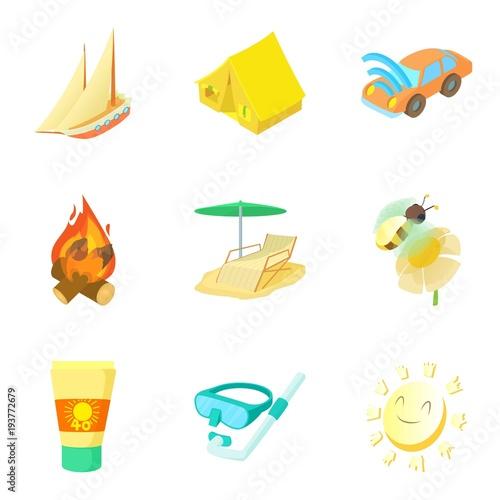 Tela Warm summer icons set, cartoon style