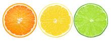 Citrus Slice, Orange, Lemon, Lime, Isolated On White Background, Clipping Path