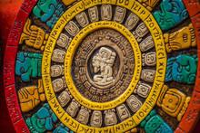 Mayan Calendar At Chichen Itza Mayan Ancient Ruins In Yucatan, Mexico