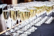 Glasses Of Champagne. Banquet Service.