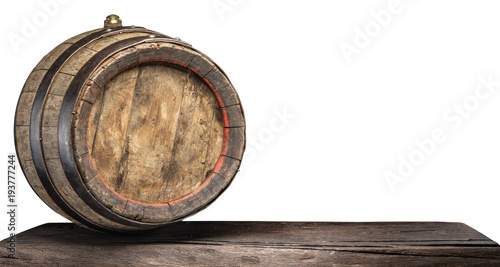 Fotomural Wine barrel on the old wooden table. File contains clipping path.