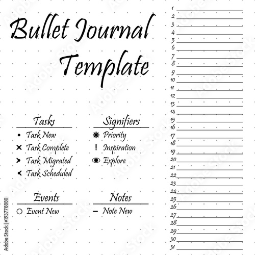 bullet journal template simple papers task tracker buy this stock