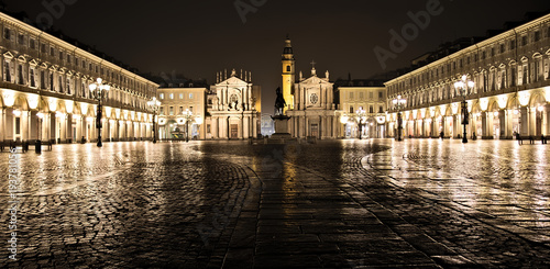 Photo  San Carlo square night scene, Torino, Italy