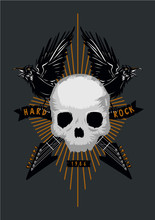 Rock Music Poster With Skull, ...