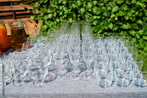 Rows Of Empty Glasses On Table Outdoors Free Space Set Of