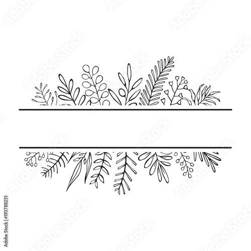 Fényképezés floral hand drawn farmhouse style outlined twigs branches frame
