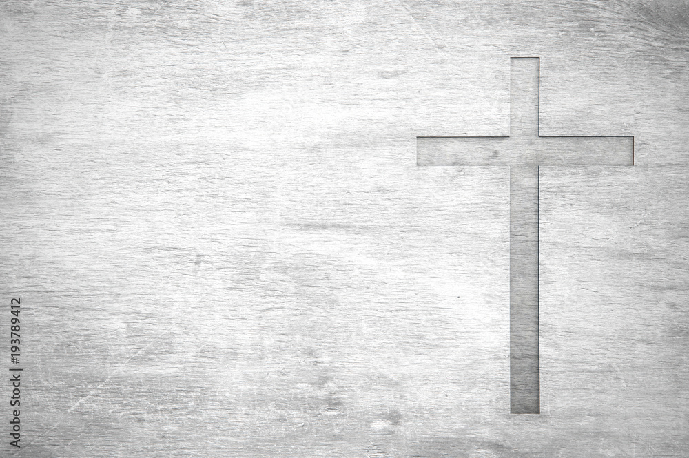 Fototapety, obrazy: White old christian religion symbol cross shape as sign of belief on a grungy wood textured with copy space.