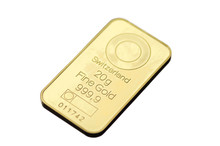 Minted Gold Bar Weighing 50 Grams Isolated On White..Selective Focus.