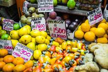 Fruits And Vegetables.Farmer's Market. San Jose, Costa Rica, Tropical Paradise.