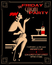 Flapper Girl With Cigarette Holder. Retro Party Invitation Card. Handmade Drawing Vector Illustration. Art Deco Style.