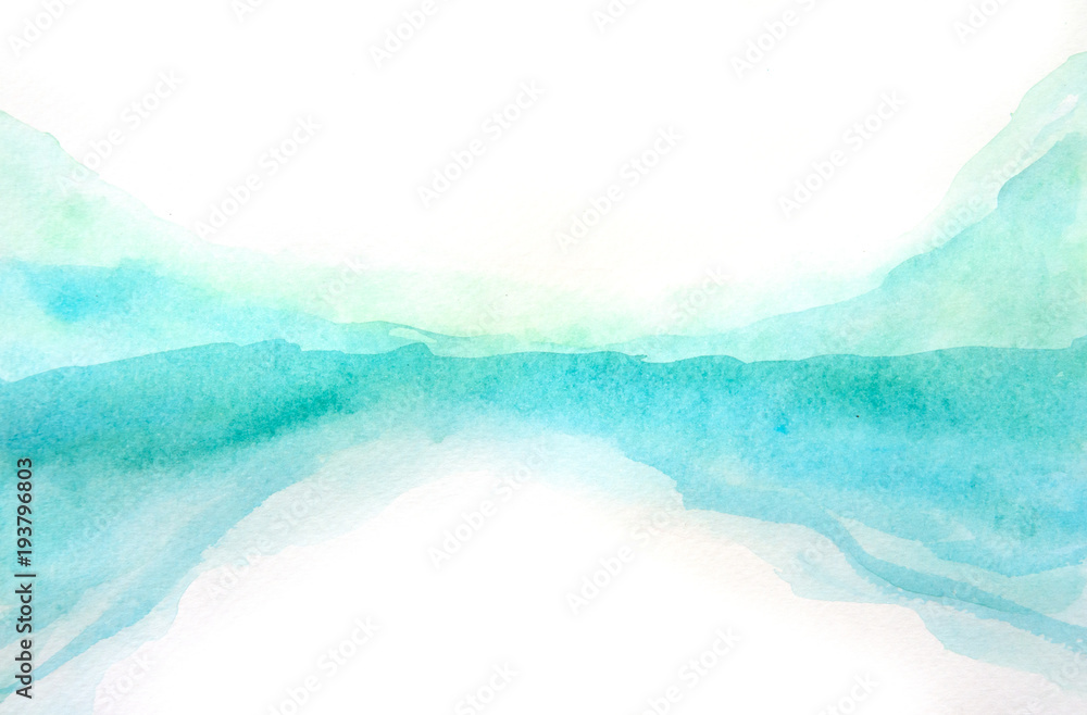Fototapety, obrazy: Green blue watercolor texture background, hand painted on paper
