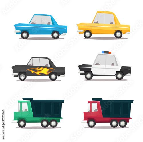 Staande foto Cartoon cars Cartoon car icon set