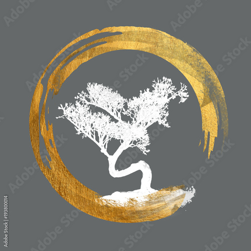 Bonsai Tree, Enso Circle, Feng Shui Symbol, Asian Art Calligraphy, Japanese / Ch Fototapeta