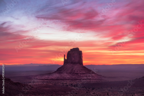 Spoed Foto op Canvas Koraal Colorful sunrise landscape view at Monument valley national park