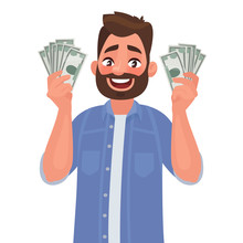 Joyful Man With Banknotes Of Money In His Hands. The Concept Of Wealth. Vector Illustration