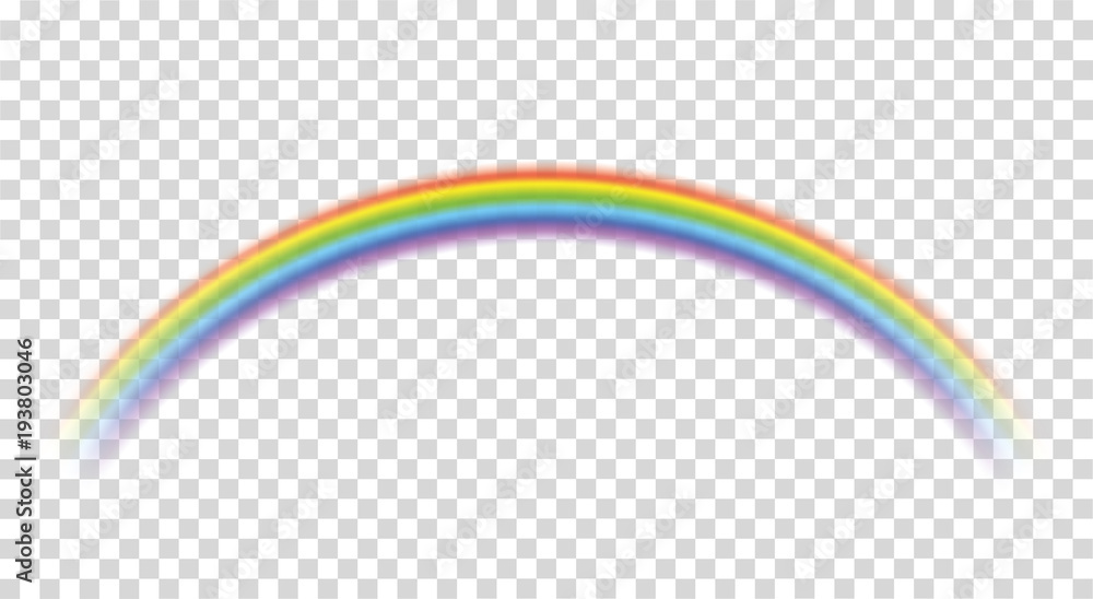 Fototapety, obrazy: Rainbow icon realistic. Perfect icon isolated on transparent background - stock vector.