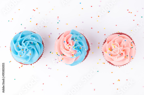 Cupcake red velvet with blue and pink whipped cream decorated with colorful sprinkles on white background Canvas Print