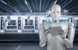 robot work on tablet
