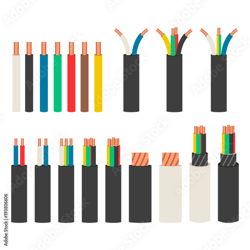 Electrical cables. Set with varieties of electric wire