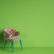 Chair in colorful pop art style on green background with copy space.Minimal concept. Digital Illustration.3d mockup rendering